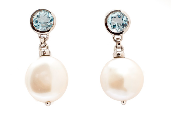 Pearl and blue topaz earrings