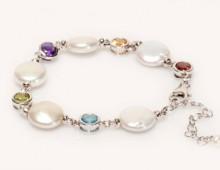 Pearl and gemstones bracelet