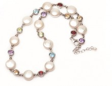Pearl and gemstones necklace