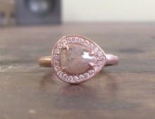 Anne Sportun One of a Kind Pear Rosecut Diamond Ring