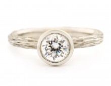 Bark Textured Engagement Ring