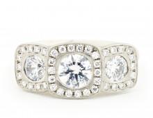 Triple Illusion Cushion Engagement Ring