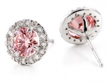 Pink created diamond earrings