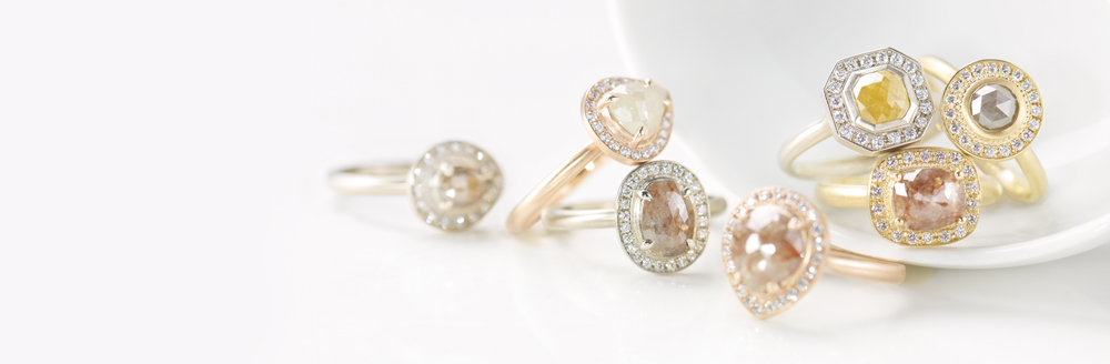 Anne Sportun One of a Kind diamond rings rings featuring rosecut, checkerboard and round brilliant cut diamonds