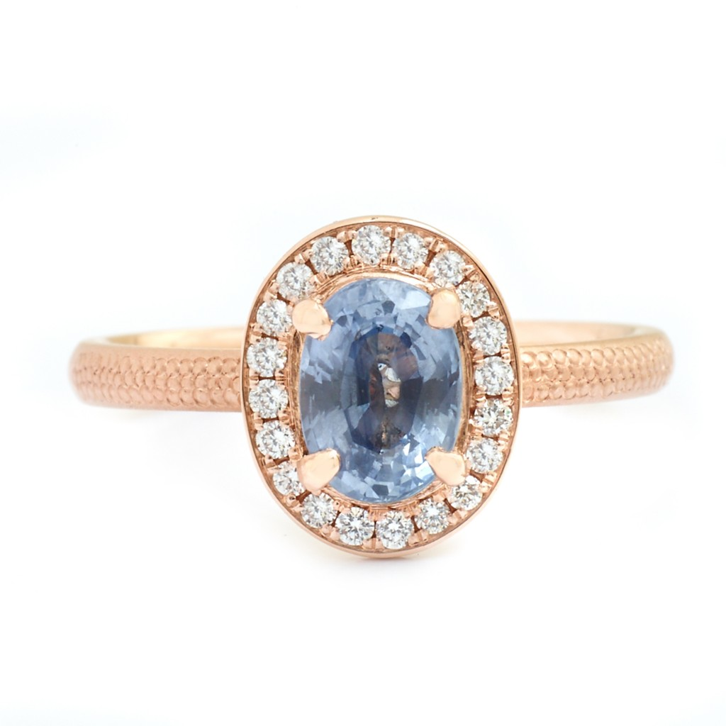 Anne Sportun Oval Periwinkle Blue Sapphire Rose Gold Ring