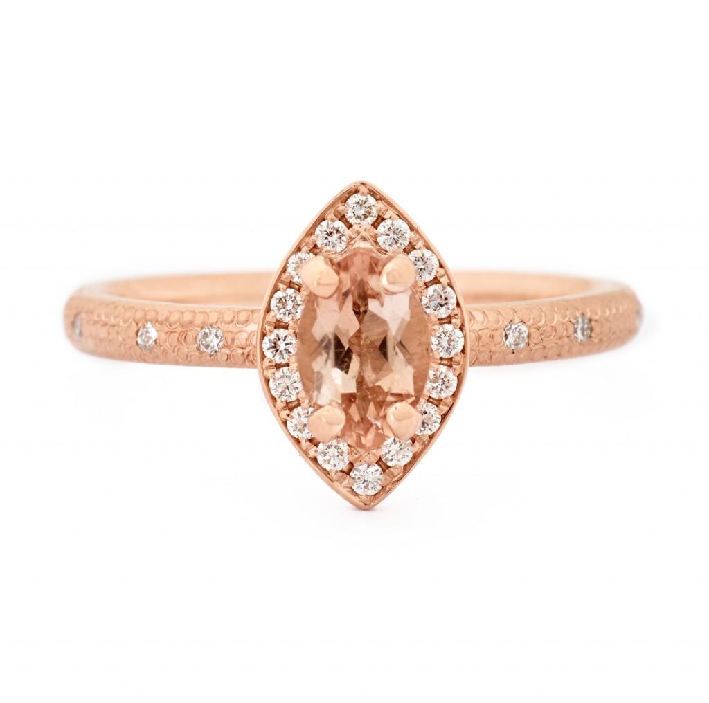 Anne Sportun Peach Marquise Rose Gold Ring