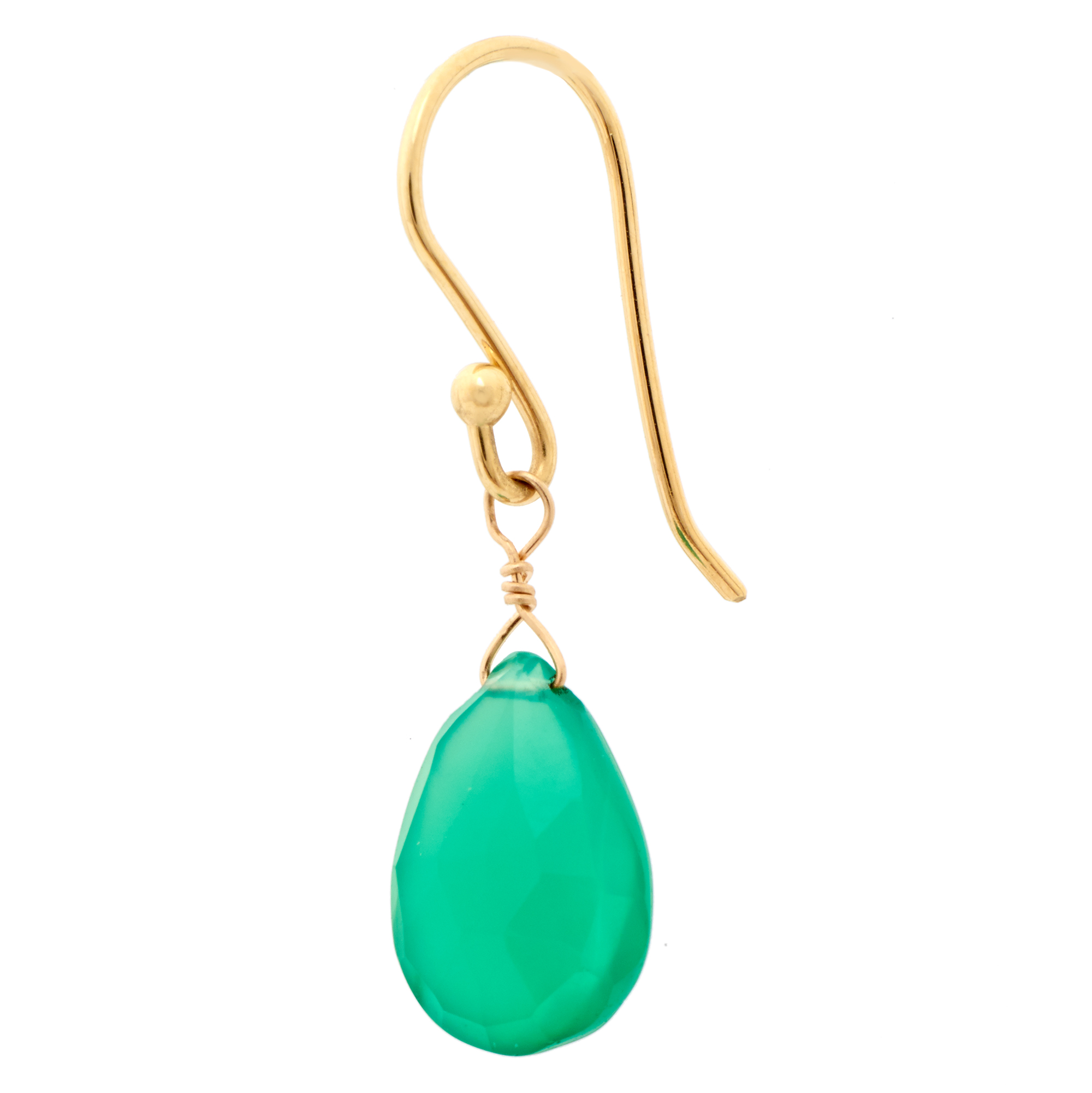 Anne Sportun Green Onyx Teardrop Briolette Earrings.