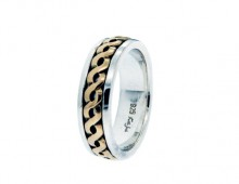Keith Jack Harrow wedding bandin 10K yellow gold and sterling silver