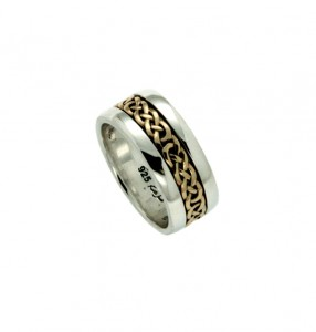 Keith Jack Earn wedding bandin 10K yellow gold and sterling silver