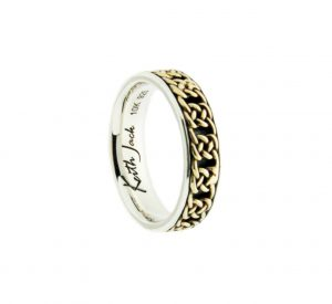 Keith Jack Braan wedding band in 10K yellow gold and sterling silver