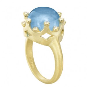 Suzy Landa Aquamarine Cabochon Crown Ring