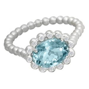 Suzy Landa Oval Aquamarine and Diamond White Gold Ring.