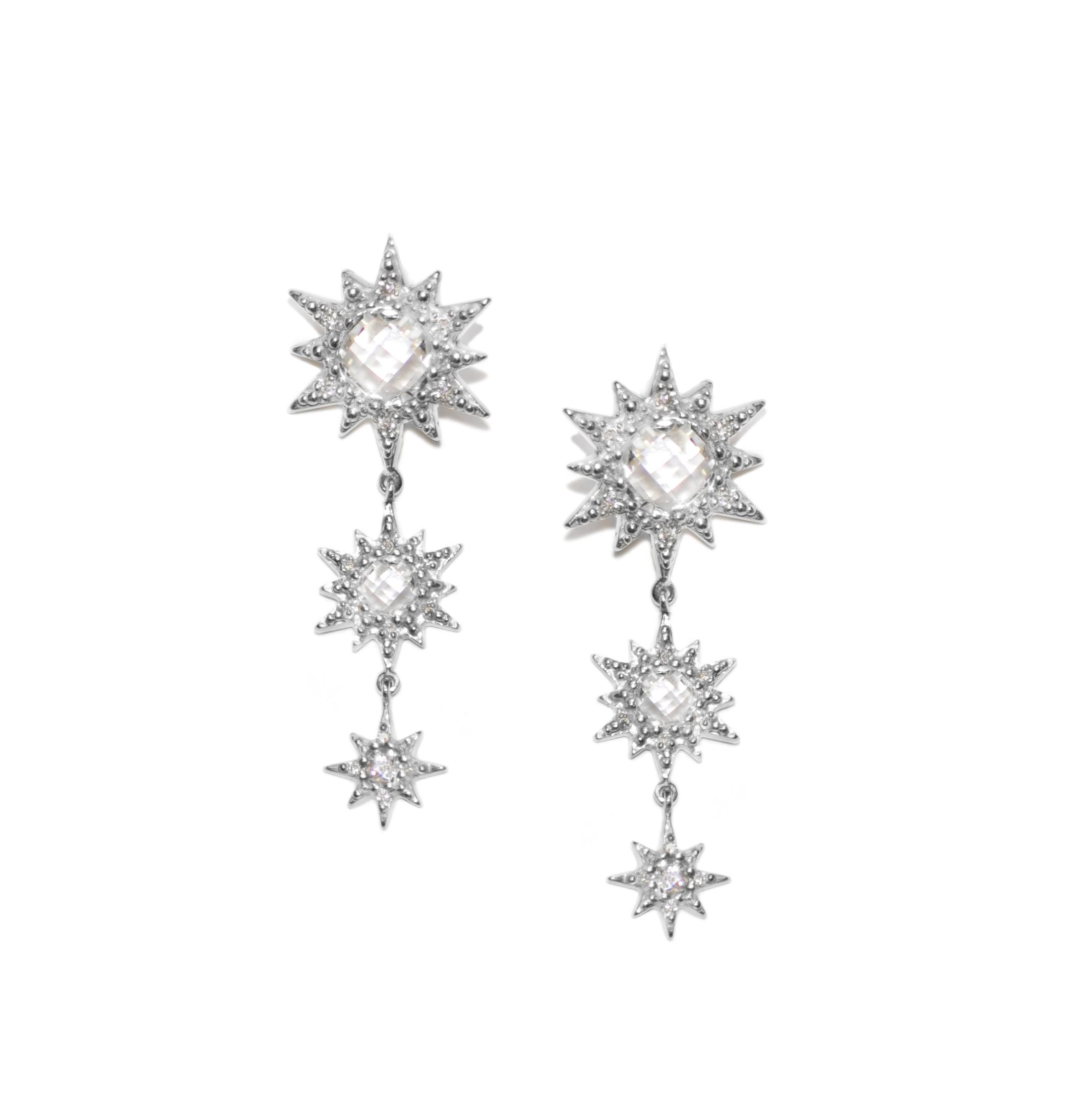Anzie Aztec Triple Drop Starburst Earrings