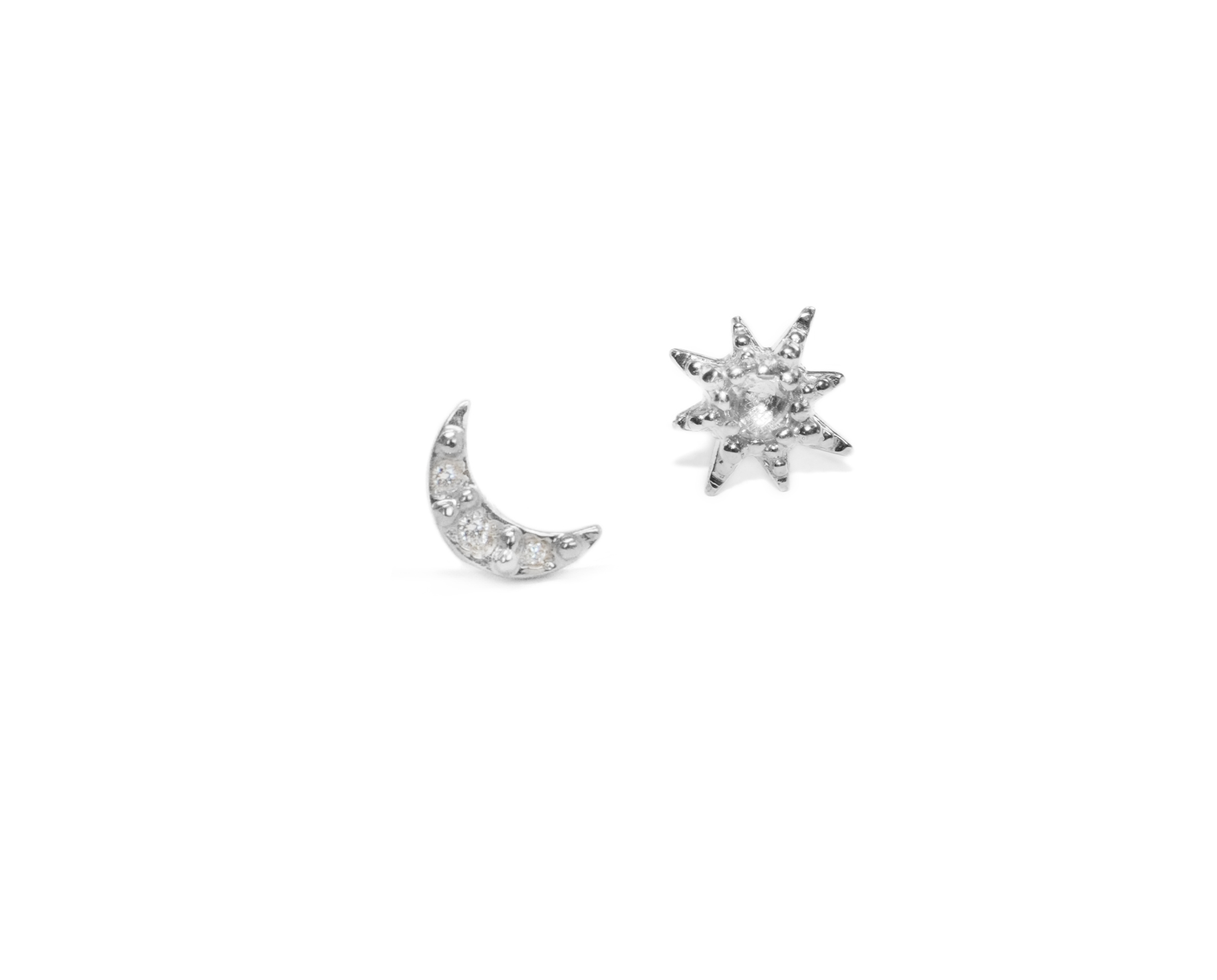 Anzie Aztec Moon Crescent with Starburst Mix Stud Earrings