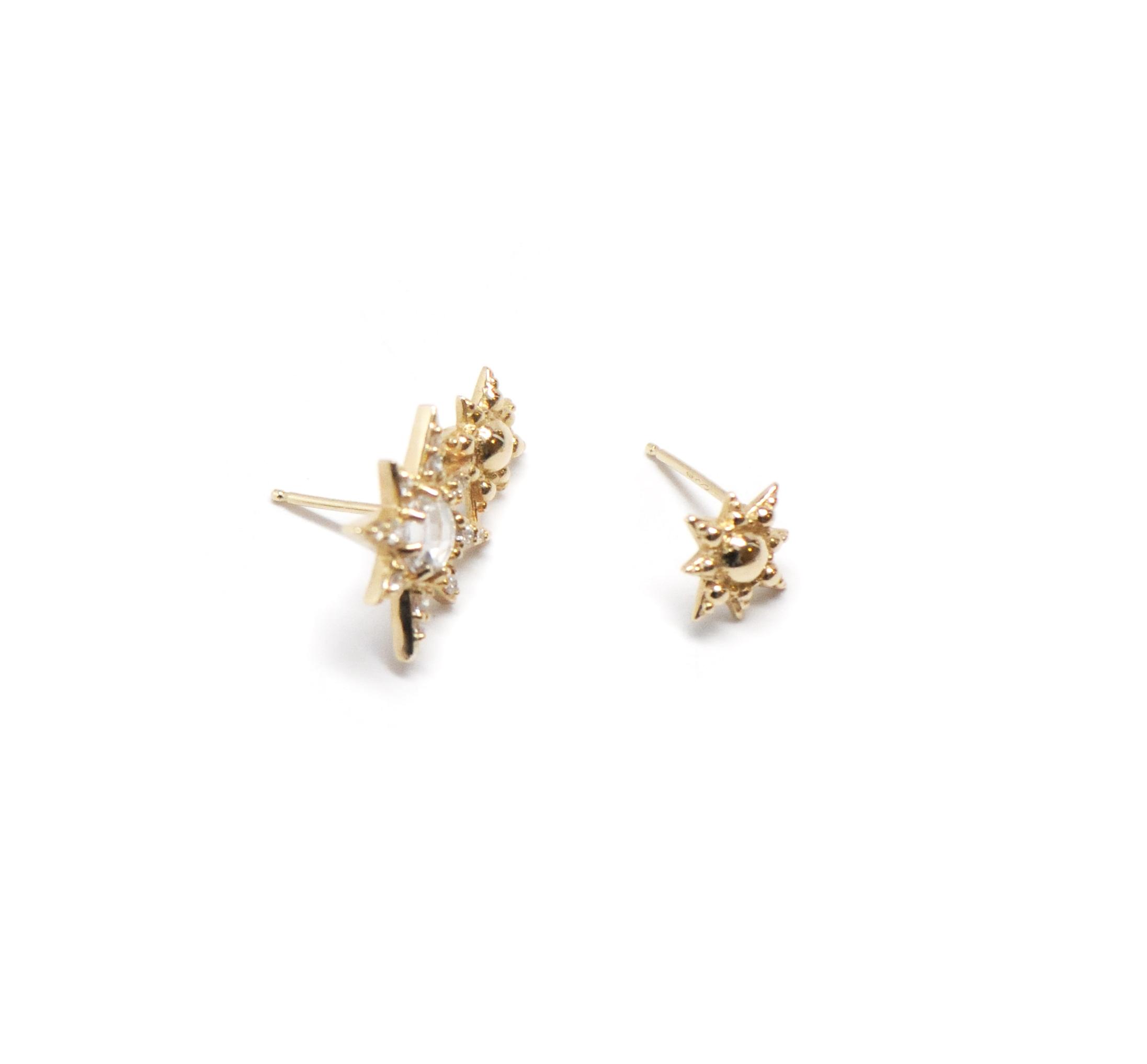 Anzie Aztec Double Starburst Gold Mini Stud Earrings