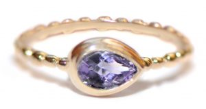 Anzie Dew Drop Pear Amethyst Stackable Band