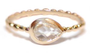 Anzie Dew Drop Pear Clear Topaz Stackable Band