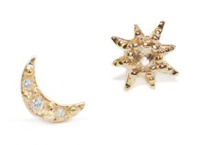 Anzie Aztec Moon Crescent with Starburst Mix Stud Earrings Gold