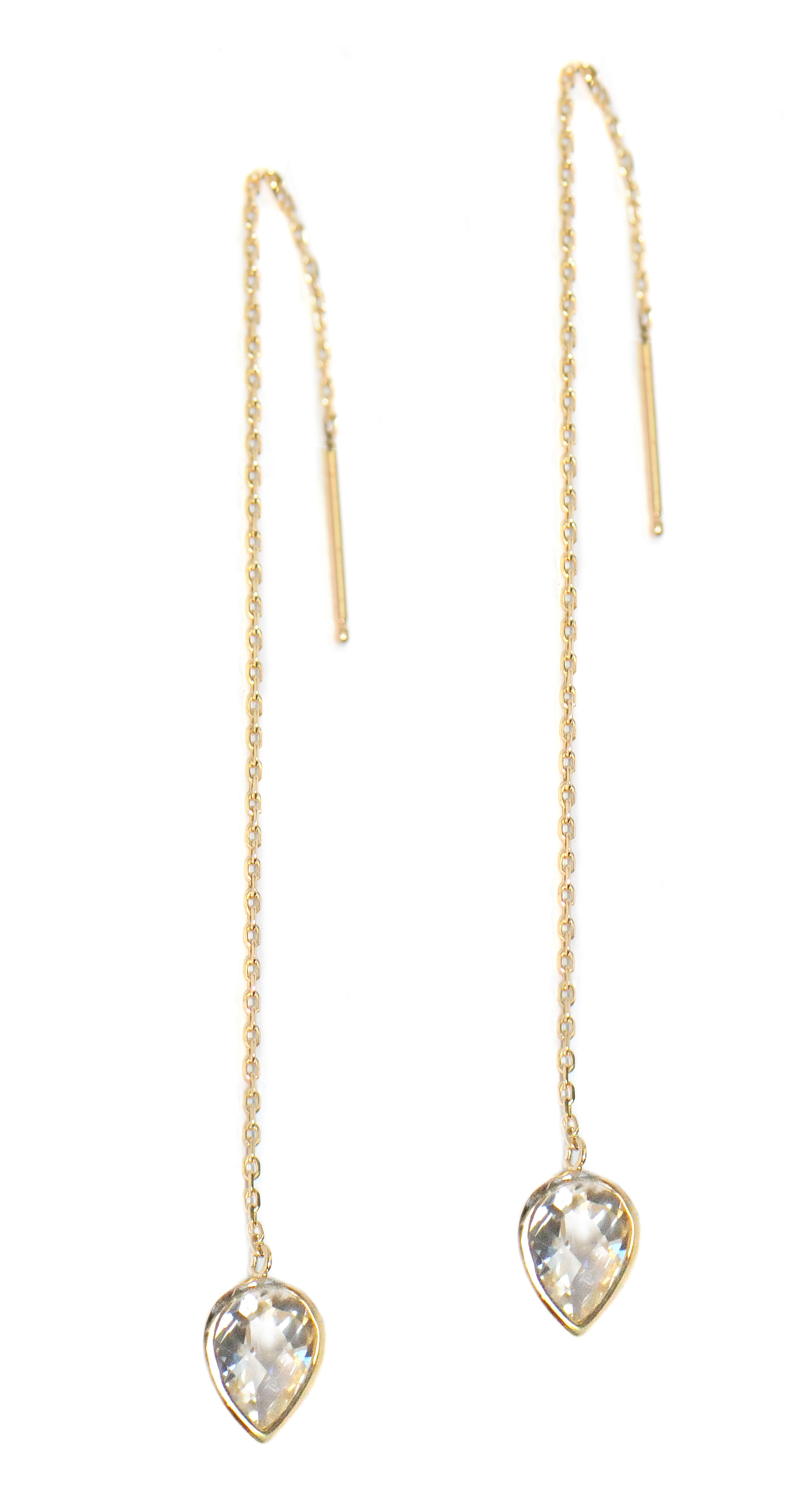 Anzie Classique Pear Chain Earrings Gold